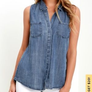 Lulu's Courtesy Collar Blue Chambray Top
